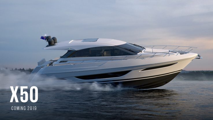 The mini reveal of the Maritimo X50 makes a splash at the Sydney International Boat Show